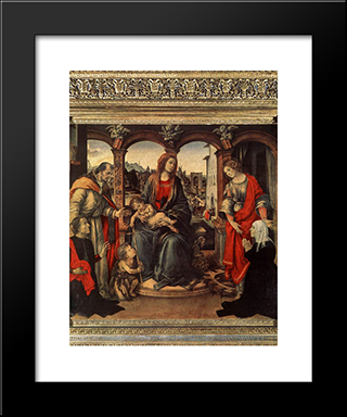 Madonna With Child And Saints: Modern Black Framed Art Print by Filippino Lippi