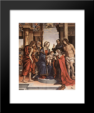 The Marriage Of St Catherine: Modern Black Framed Art Print by Filippino Lippi