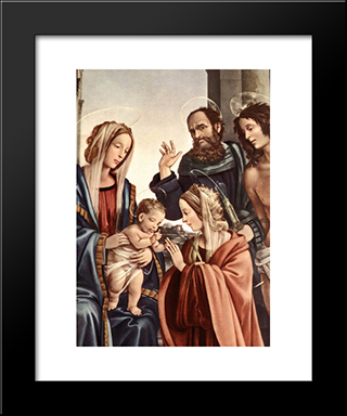 The Marriage Of St Catherine [Detail: 1]: Modern Black Framed Art Print by Filippino Lippi