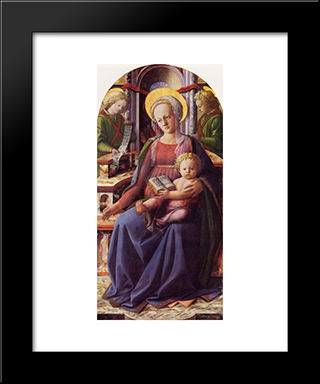 Madonna And Child Enthroned With Two Angels: Modern Black Framed Art Print by Filippino Lippi