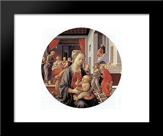 Madonna And Child With Stories From The Life Of The Virgin: Modern Black Framed Art Print by Filippino Lippi