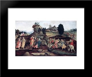 Moses Brings Forth Water Out Of The Rock: Modern Black Framed Art Print by Filippino Lippi