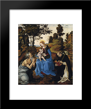 The Virgin And Child With Sts. Gerome And Dominic: Modern Black Framed Art Print by Filippino Lippi