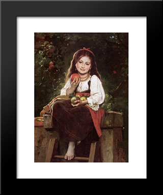 The Apple Picker: Modern Black Framed Art Print by Leon Bazile Perrault