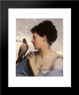 The Bird Charmer: Modern Black Framed Art Print by Leon Bazile Perrault