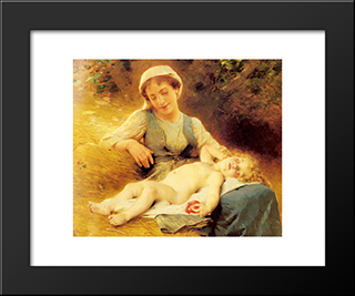 A Mother With Her Sleeping Child: Modern Black Framed Art Print by Leon Bazile Perrault