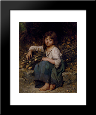 La Fille Du Bucheron: Modern Black Framed Art Print by Leon Bazile Perrault