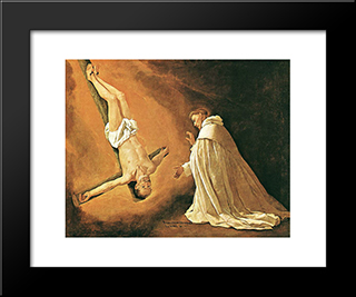 The Apparition Of The Apostle St Peter To St Peter Of Nolasco: Modern Black Framed Art Print by Francisco de Zurbaran