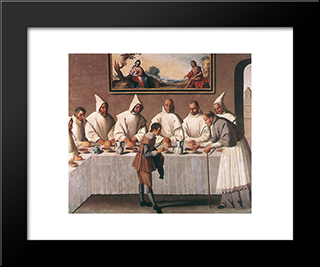 St Hugo Of Grenoble In The Carthusian Refectory: Modern Black Framed Art Print by Francisco de Zurbaran