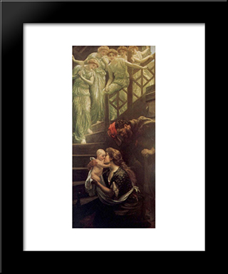 The Heavenly Stair: Modern Black Framed Art Print by Arthur Hughes