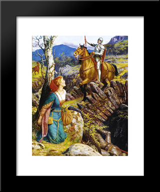 Overthrowing Of The Rusty Knight: Modern Black Framed Art Print by Arthur Hughes