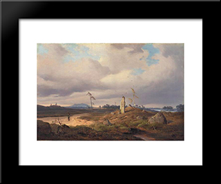 Landscape With Rune Stone: Modern Black Framed Art Print by Andreas Achenbach