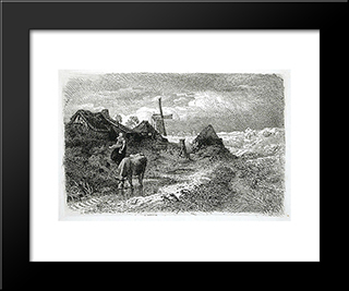 Dutch Landscape With Woman And Cow: Modern Black Framed Art Print by Andreas Achenbach