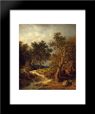 Landscape With A Stream: Modern Black Framed Art Print by Andreas Achenbach