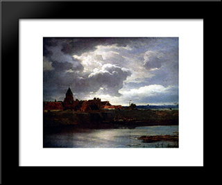 Landschaft Mit Fluss: Modern Black Framed Art Print by Andreas Achenbach