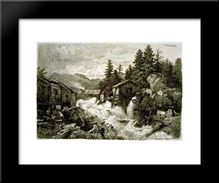 Logging Camp: Modern Black Framed Art Print by Andreas Achenbach