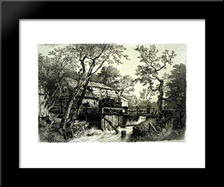 Mill Beside A Stream: Modern Black Framed Art Print by Andreas Achenbach