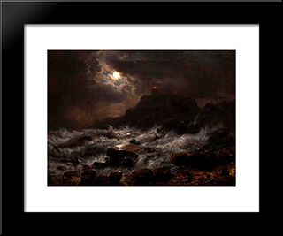 Norwegian Coast By Moonlight: Modern Black Framed Art Print by Andreas Achenbach