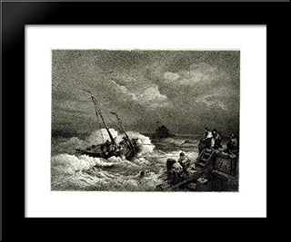 Pulling In A Boat: Modern Black Framed Art Print by Andreas Achenbach