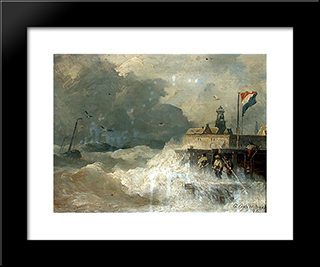 Sturm An Der Kuste: Modern Black Framed Art Print by Andreas Achenbach