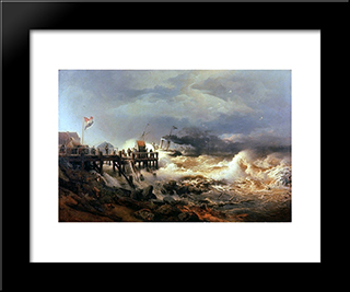 Storm At Dutch Coast: Modern Black Framed Art Print by Andreas Achenbach