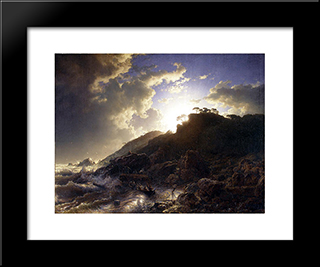Sunset After A Storm On The Coast Of Sicily: Modern Black Framed Art Print by Andreas Achenbach