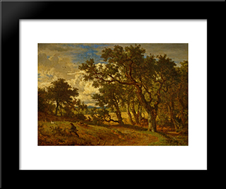 A Hunter And His Dog: Modern Black Framed Art Print by Andreas Achenbach
