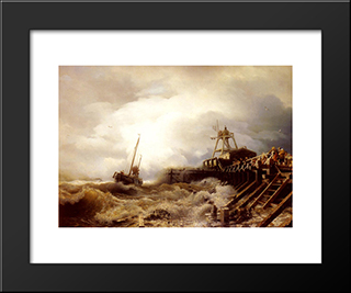 A Fishing Boat Caught In A Squall Off A Jetty: Modern Black Framed Art Print by Andreas Achenbach