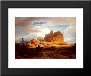 Don Quixote And Sancho Panza: Modern Black Framed Art Print by Andreas Achenbach