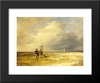 Fishing Along The Shore: Modern Black Framed Art Print by Andreas Achenbach