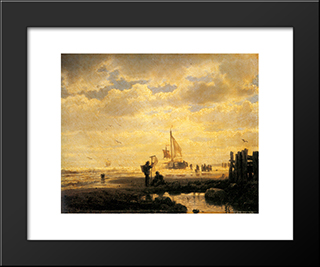 Bringing In The Catch: Modern Black Framed Art Print by Andreas Achenbach