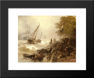 Hafeneinfahrt Bei Rauher See: Modern Black Framed Art Print by Andreas Achenbach