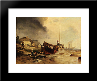 A Fishingboat On The Beach: Modern Black Framed Art Print by Andreas Achenbach