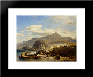 A Busy Town On The Levantine Coast: Modern Black Framed Art Print by Andreas Achenbach