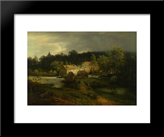 The Watermill In The Village: Modern Black Framed Art Print by Andreas Achenbach
