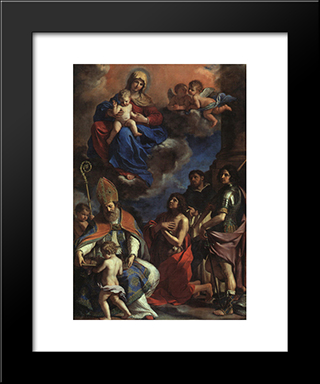 The Patron Saints Of Modena: Modern Black Framed Art Print by Guercino