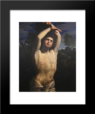 St Sebastian [Detail #1]: Modern Black Framed Art Print by Guercino