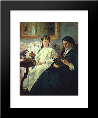 The Mother And Sister Of The Artist: Modern Black Framed Art Print by Berthe Morisot