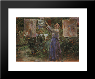 Peasant Hanging Out The Washing: Modern Black Framed Art Print by Berthe Morisot