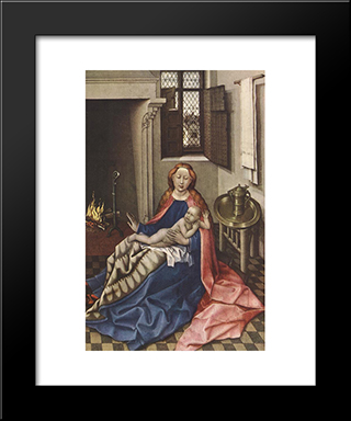 Madonna With The Child (Altarpiece): Modern Black Framed Art Print by Robert Campin