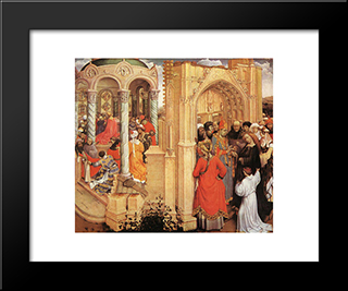 The Marriage Of Mary: Modern Black Framed Art Print by Robert Campin