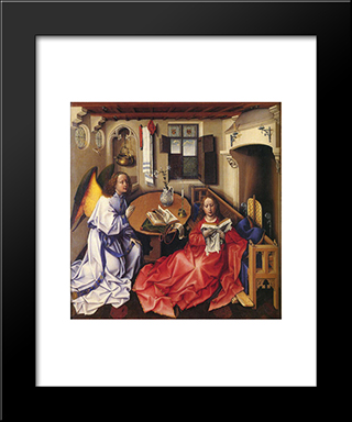 Merode Altarpiece (Nativity): Modern Black Framed Art Print by Robert Campin