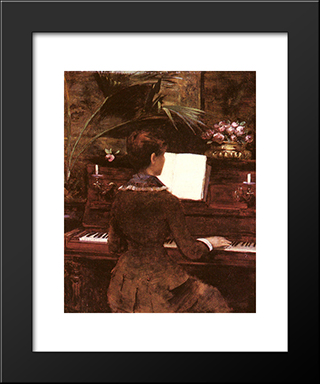 At The Piano: Modern Black Framed Art Print by Louise Abbema