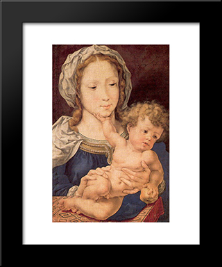 Virgin And Child: Modern Black Framed Art Print by Mabuse