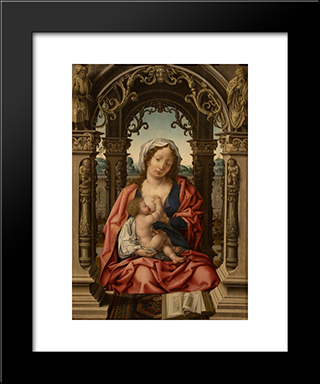 Madonna And Child: Modern Black Framed Art Print by Mabuse