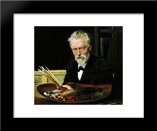 Self Portrait: Modern Black Framed Art Print by Vladimir Makovsky