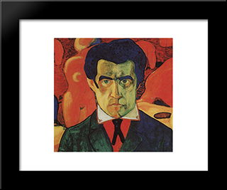 Self-Portrait: Modern Black Framed Art Print by Kazimir Malevich