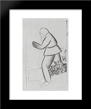 Carpenter: Modern Black Framed Art Print by Kazimir Malevich