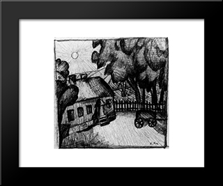 House In The Wall: Modern Black Framed Art Print by Kazimir Malevich