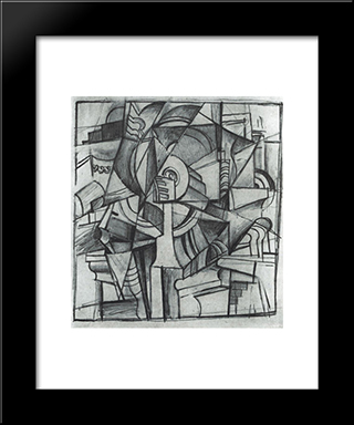 Cubo-Futurist Composition: Modern Black Framed Art Print by Kazimir Malevich